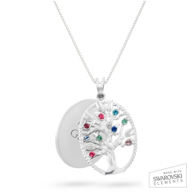 Sterling Oval Legacy 9 Birthstone Family Tree Necklace with complimentary Filigree Keepsake Box - UPC 825008304628