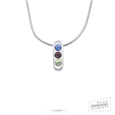 Sterling Vertical Pendant 3 Birthstone Necklace with complimentary Filigree Keepsake Box