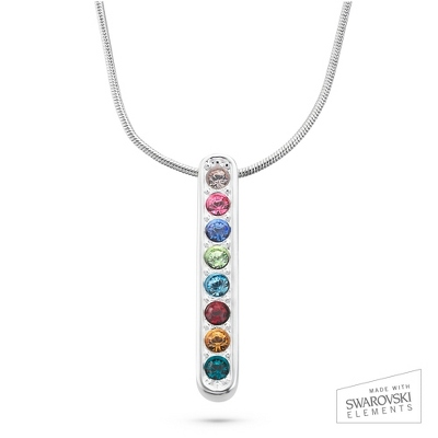 Sterling Vertical Pendant 8 Birthstone Necklace with complimentary Filigree Keepsake Box