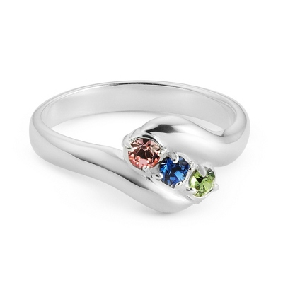 Sterling Mother's 3 Birthstone Family Ring with complimentary Filigree Keepsake Box - $58.99