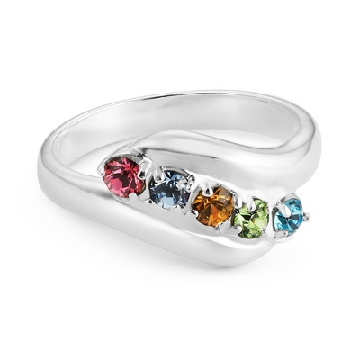Sterling Mother's 5 Birthstone Family Ring with complimentary Filigree Keepsake Box - UPC 825008304734