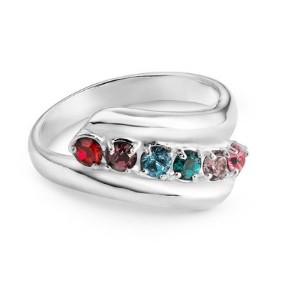 Sterling Mother's 6 Birthstone Family Ring with complimentary Filigree Keepsake Box - $85.00