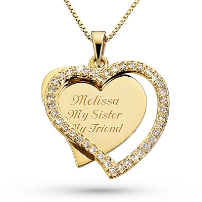 Gold Plated CZ Swing Necklace with complimentary Filigree Keepsake Box - $44.99