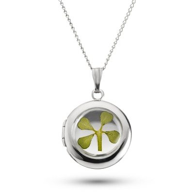 Sterling Silver Clover Locket with complimentary Filigree Keepsake Box - Sterling Silver Necklaces