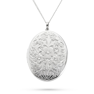 Sterling Silver Large Oval Locket with Antiqued Flowers with complimentary Filigree Keepsake Box