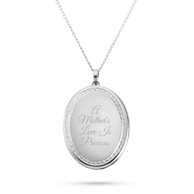 Sterling Silver Oval 4-Photo Locket with complimentary Filigree Keepsake Box - UPC 825008304888
