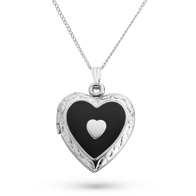 Sterling Silver 20mm Black Enamel Heart Locket with complimentary Filigree Keepsake Box - Sterling Silver Necklaces