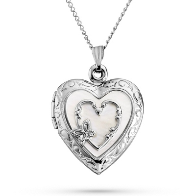 Sterling Silver 20mm Mother of Pearl Locket with complimentary Filigree Keepsake Box - $69.99