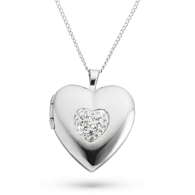 Sterling Silver 20mm Crystal Heart Locket with complimentary Filigree Keepsake Box