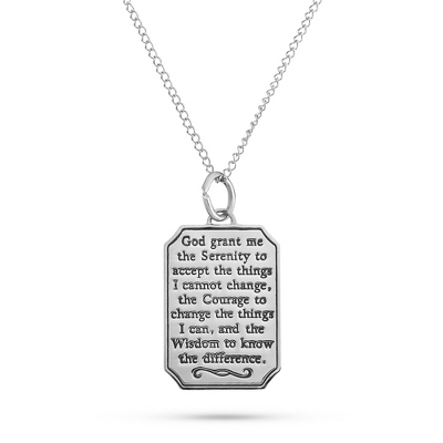 Sterling Silver Serenity Prayer Necklace with complimentary Filigree Keepsake Box - UPC 825008304925