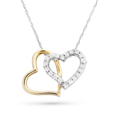 .20 CT Diamond Two Tone Double Hearts Necklace with complimentary Filigree Keepsake Box