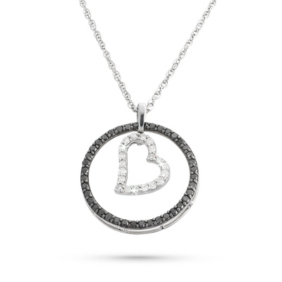 .50 CT Black & White Diamond Heart Necklace with complimentary Filigree Keepsake Box - Sterling Silver Necklaces