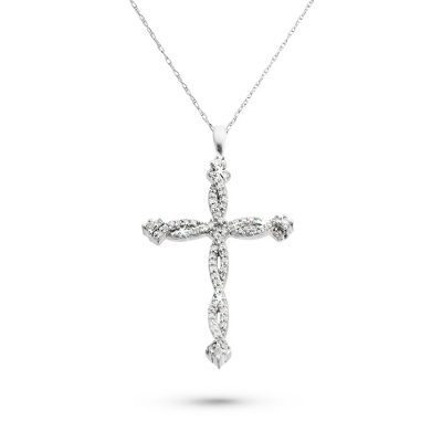 .25 CT Diamond Twisted Cross Necklace with complimentary Filigree Keepsake Box