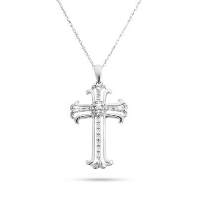.10 CT Diamond Cross Necklace with complimentary Filigree Keepsake Box