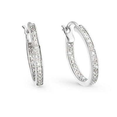 .50 CT Diamond Hoop Earrings with complimentary Filigree Keepsake Box