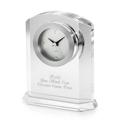 Engraved Crystal Clock Gift