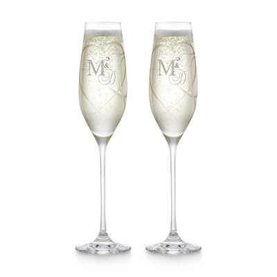 Fluted Champagne Glasses for Valentines Day