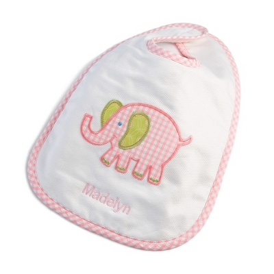 Pink Elephant Large Bib - Baby Gifts for Girls