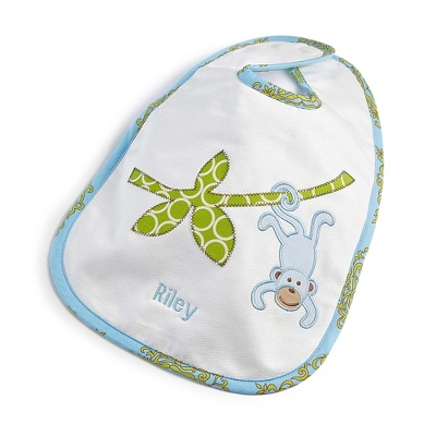 Blue Monkey Large Bib - Baby Gifts for Boys