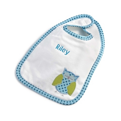 Boy Owl Feeding Bib - Baby Gifts for Boys