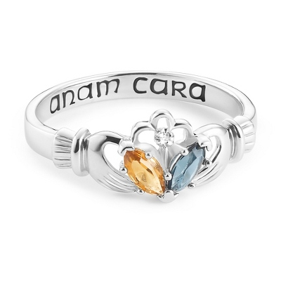 Sterling Silver Claddagh Couples Ring with Diamond Accent with complimentary Filigree Keepsake Box