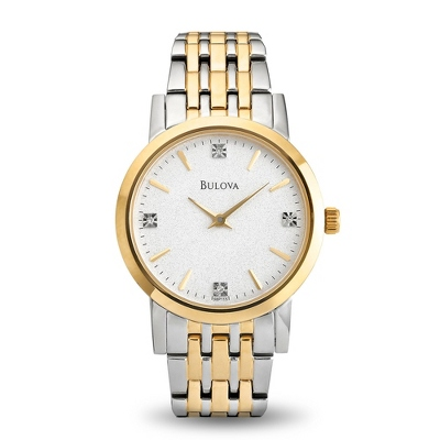 Ladies Bulova Two Tone Watch Diamond Accents with complimentary Filigree Keepsake Box