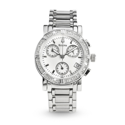 Ladies Bulova Diamond Chronograph Watch 96R19 with complimentary Classic Beveled Edge Round Keepsake Box