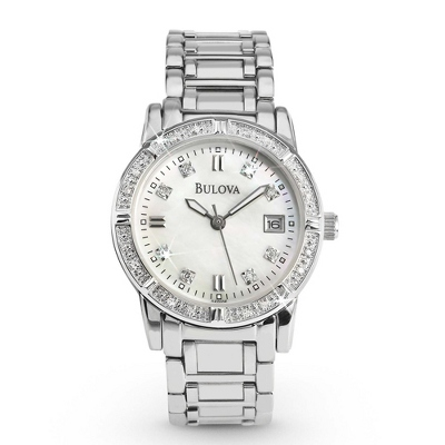 Ladies Bulova Diamond Accented Watch 96R105 with complimentary Classic Beveled Edge Round Keepsake Box