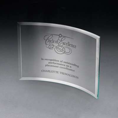 Small Curved Glass Award - $40.00