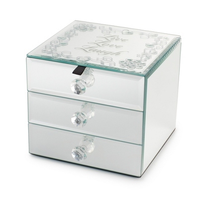 Live Love Laugh Mirrored Jewelry Box - Keepsake Boxes