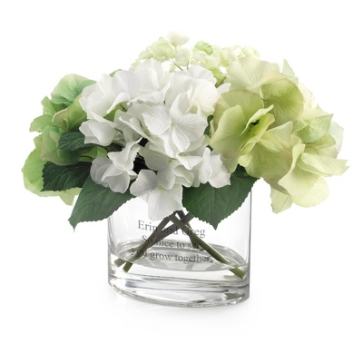 Green and White Hydrangea Flower Arrangement - UPC 825008306592