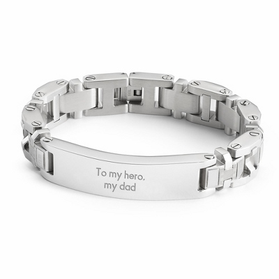 Rectangle ID Bracelet with complimentary Tri Tone Valet Box - Men's Jewelry