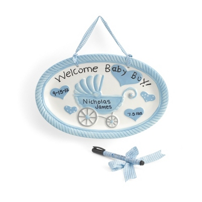 Welcome Baby Boy Plaque - UPC 825008307599