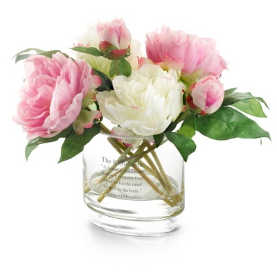 Pink and White Peony Flower Arrangement - Vases & Floral Arrangements