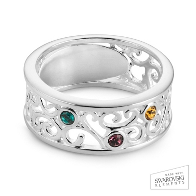 Sterling Silver 3 Birthstone Filigree Ring with complimentary Filigree Keepsake Box