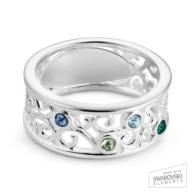 Sterling Silver 4 Birthstone Filigree Ring with complimentary Filigree Keepsake Box - UPC 825008307711