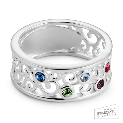 Sterling Silver 5 Birthstone Filigree Ring with complimentary Filigree Keepsake Box - UPC 825008307728