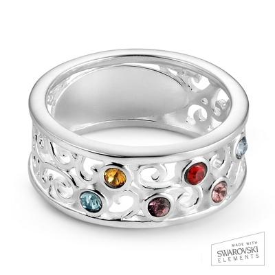 Sterling Silver 6 Birthstone Filigree Ring with complimentary Filigree Keepsake Box - UPC 825008307735