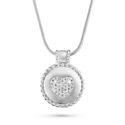 Secret Locket with CZ Heart with complimentary Filigree Keepsake Box