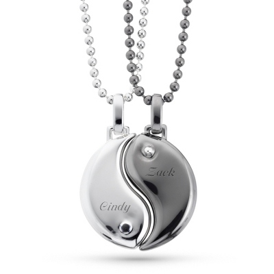 Yin Yang Pendant Necklace Set with complimentary Tri Tone Valet Box