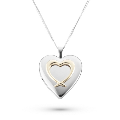 Sterling Two-Tone Double Heart Locket with complimentary Filigree Keepsake Box - Sterling Silver Necklaces