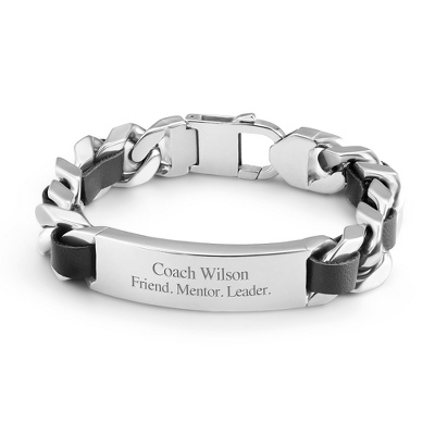 Large Link Stainless Steel and Leather ID Bracelet with complimentary Tri Tone Valet Box - $39.99