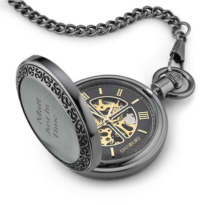 Black and Gold Skeleton Pocket Watch - UPC 825008308404