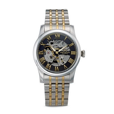 Men's Two Tone Skeleton Watch