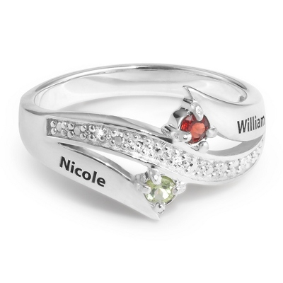 Sterling Couples Genuine Birthstone & Name Diamond Ring with complimentary Filigree Keepsake Box