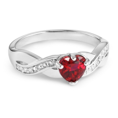 Sterling Created Ruby Heart & Diamond Accent Ring with complimentary Filigree Keepsake Box