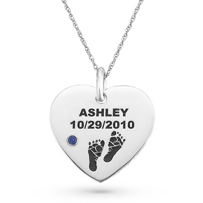 Sterling Baby Feet Birthstone Name & Date Heart Necklace with complimentary Filigree Keepsake Box