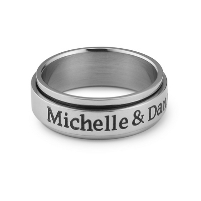 Stainless Steel Spinner Ring with complimentary Weave Texture Valet Box - $60.00