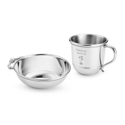 Pewter Baby Cup and Porringer Set - Baby Gifts for Boys