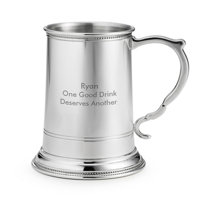 Pewter Beveled Beer Mug - Flasks & Beer Mugs